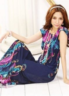 Holiday Girls Happiness Blue Beach Long Dresses