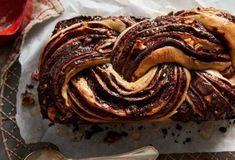 This decadent babka is swirled with toasted nuts and a dark chocolate filling that's full of flavor. Rises overnight in fridge. Chocolate Babka, Chocolate Swirl, Chocolate Filling, Chocolate Recipes, Flour Recipes, Bread Recipes, Cooking Recipes, Babka Recipe, Sweet Bread