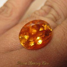 Batu Cincin Top Fire Citrine Orangy Yellow Oval 7.69 carat
