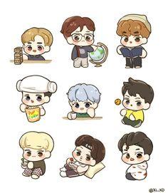 Exo Stickers, Kawaii Stickers, Printable Stickers, Cute Stickers, Exo Anime, Anime Chibi, Bts Chibi, Exo Fan Art, Cute Kawaii Drawings