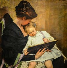 """""""The End of the Day,"""" 1900 -- by William Sergeant Kendall (American, Seattle Art Museum, Seattle WA Mother And Child Painting, Painting For Kids, Woman Reading, Kids Reading, Reading Art, Kendall Williams, Birthday Wishes For Daughter, Happy Birthday, Seattle Art Museum"""