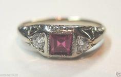 Antique Diamond Engagement Ring 18K  Art Deco Wedding Vintage Estate Bridal FINE Ring Size ~ 6 UK-L1/2.