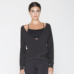 August V-Neck Faux Wrap Pullover - Splits59