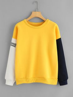 Dotfashion Contrast Sleeve Letter Print Sweatshirt Colorblock Multicolor O-Neck Long Sleeve Spring Autumn Women Casual Pullover Girls Fashion Clothes, Girl Outfits, Casual Outfits, Fashion Outfits, Fashion Fashion, Fashion Ideas, Vintage Fashion, Hoodie Sweatshirts, Printed Sweatshirts
