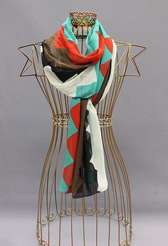 Chevron print in red, teal, mocha, black and ivory!