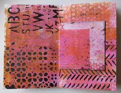 """newly creative: A Gelli Book -- using the Balzer Designs """"Herringbone"""" stencil"""