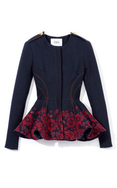 Prabal Gurung Embroidered Denim Peplum Jacket                                                                                                                                                     More