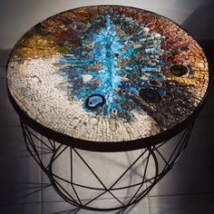 The opal table - La table d'opale  .  .  #frompapertostone #mosaic #mosaico #mosaique #mosaicart  #rock #fineart #glass #marble #interiordesign #crystal #design #love #photooftheday #instagood #art #gemstones #furniture #happy #fineart #homedecor