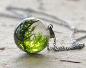 Real moss globe necklace - unique woodland crystal resin orb ball - stainless steel chain