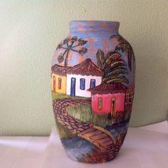 Vaso decorativo pintado à mão - Casinhas - VAS 031