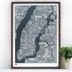 NY Type map print.
