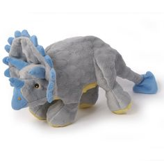 Triceratops Chew Guard Dog Toy. These toys are made with soft bubble plush and Chew Guard technology for added durability.