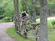 fallen or cut tree branches attached to mature tree's makes a much stronger fence and it's free!