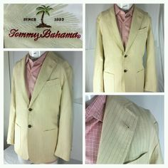 Tommy Bahama 2 button pinstripe blazer/jacket/sportcoat Mens medium Cotton/Linen #TommyBahama #TwoButton