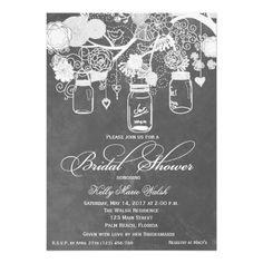 Chalkboard Mason Jar Bridal Shower Invites