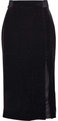 ab506f9e10016 Saloni - Kirsten Belted Velvet Skirt - Black Business Fashion, Business  Style, Velvet Skirt