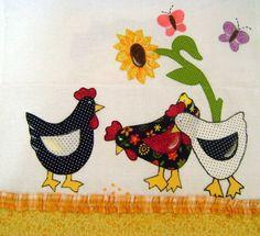 pano de prato galinhas | Arte e Flor | Elo7