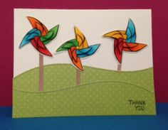 Thank you card using stamps and dies from Cruising Through Life and Hillside Border dies by Lawn Fawn.