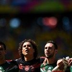 Rafael Marquez, Guillermo Ochoa, Miguel Layun and Carlos Salcido of Mexico line up