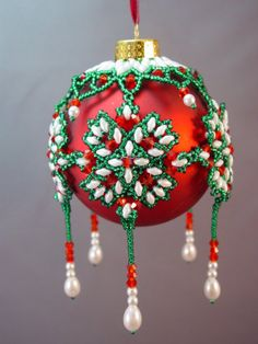 Fairisle Beaded Christmas Ornament Cover Pattern
