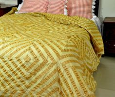 """Golden yellow Faux silk patchwork duvet cover (110""""W X 102""""L(King size)) by D $149.99. Hidden zipper is provided at the back to change duvet. The gold polyester material is stitched together to make the design.. The reverse of the duvet cover is plain striped fabric and not patch work. The fabric is 100% Polyester material and very soft and smooth. The puckering effect is by weaving and our master tailors have cut the fabric into small patches and have joined tog..."""