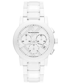 NWT BURBERRY White Ceramic Chronograph Watch Get the lowest price on NWT BURBERRY White Ceramic Chronograph Watch and other fabulous designer clothing and accessories! Shop Tradesy now Stylish Watches, Luxury Watches, Cool Watches, Watches For Men, Mens White Watches, Women's Watches, Fossil Watches, Wrist Watches, Patek Philippe
