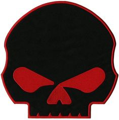 High Quality Embroidered Patch Iron/ Sew On Great for Jackets and Vests x Harley Davidson Images, Jacket Patches, Iron On Embroidered Patches, Punisher, Red Black, Motorcycle Jacket, Motorcycles, Skull, Craft Ideas