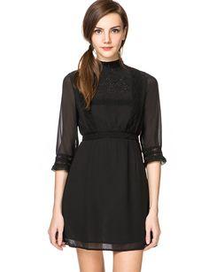 Party Black Lace Dress - High Collar Black Lace Dress - $59