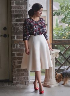 Our Amelia Skirt ❤️because everyone needs an IVORY skirt. Black Floral top also available, link in bio.