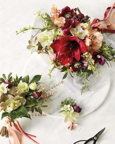 When the weather outside is frightful, see how our favorite floral designers make wedding blooms look delightful.Switch it UpChicago floral designer Kelly Marie Thompson of Chicago-based flower shop, Fleur, believes personal flowers should complement—not copy—one another. Here, amaryllis, hellebores, sweet peas, and rosemary make a bold clutch for a bride, while the bridesmaid's posy (far left) spotlights supporting players of camellia foliage and hellebores. Even the guys' boutonniere...