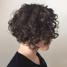 65 Different Versions of Curly Bob Hairstyle Short Curly Brunette Bob Haircuts For Curly Hair, Short Wavy Hair, Curly Hair Cuts, Hairstyles Haircuts, Curly Hair Styles, Wavy Bobs, Curly Stacked Bobs, Natural Hairstyles, Short Curls