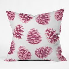 Lisa Argyropoulos Pink Pine Cones Throw Pillow | DENY Designs Home Accessories