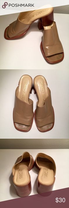 Franco Sarto Tan Leather Mules Slides Sandals These are right on trend and perfect for the upcoming spring season! Gently loved but still have lots of life left. There's a small snag in the leather on the top right (left in the picture) shoe. Approx. 2 1/2 in heel. Made in Brazil. Franco Sarto Shoes Mules & Clogs