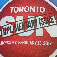 """D'Oh! Toronto Sun's page one typo: the word """"Monday"""" (PHOTO)"""
