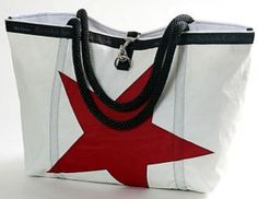 ella vickers- recycled sailcloth rope handle star tote bag