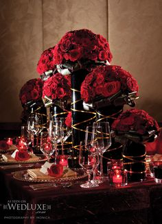 See more about red centerpieces, rose centerpieces and red roses. Gothic Wedding, Dream Wedding, Wedding Day, Decoration Table, Reception Decorations, Red Centerpieces, Centerpiece Flowers, Centerpiece Ideas, Deco Table Noel