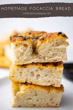 This easy homemade Focaccia is the ultimate in comfort food. Garlic, Rosemary and Thyme infused olive oil brings this fresh baked bread to life. Top it off with some flaky sea salt and it's perfection! #bread #focaccia #homemade #recipe #freshbakedbread #breadrecipe #focacciarecipe #garlic #rosemary #thyme #vegetarian #veganfriendly #foccacciadough #italian #italianbread #italianrecipe #baking Homemade Focaccia Bread, Focaccia Recipe, Pastry Recipes, Bread Recipes, Baking Recipes, Drink Recipes, Best Bread Recipe, Biscuit Recipe, Recipe Box