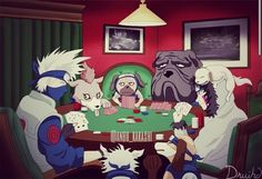 I love how kakashi, Kiba, and all the dogs of Naruto are playing poker (: