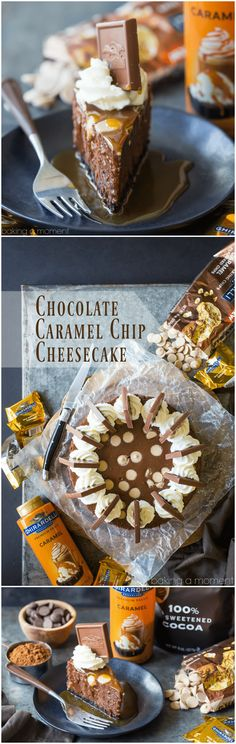 Chocolate Caramel Chip Cheesecake: Omg this was to-die-for! So rich and chocolate-y. Will definitely make again- it's a perfect make-ahead dessert. food desserts chocolate via @bakingamoment