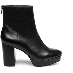 Steve Madden Women's Peace Boots ($75) ❤ liked on Polyvore featuring shoes, boots, ankle booties, ankle boots, black leather, high heel ankle boots, black leather ankle booties, platform booties and black booties