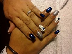 Nail design,blue and silver,Dallas Cowboys nails, True Blue, nail art
