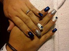 Nail design,blue and silver,Dallas Cowboys nails, True Blue, nail art