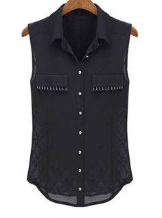 Backless stitching rivers inlaid sleeveless shirt- Jumpo London