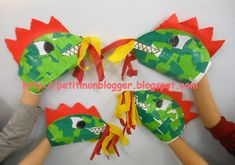 Dinosaur Puppet, Dinosaur Stuffed Animal, Dragons, Tunnel Book, Arts And Crafts, Paper Crafts, Saint George, Chinese New Year, Projects For Kids
