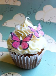 EDIBLE Butterfly  - small Edible Pink Monarch butterfly - Cake & Cupcake Toppers. $9.95, via Etsy.