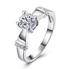 YUEYIN Sweet Ring Wedding Zircon Silver Ring