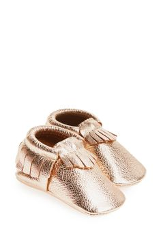 Cannot get over how adorable these rose gold baby moccasins are!