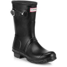 Hunter Original Short Rain Boots (€135) ❤ liked on Polyvore featuring shoes, boots, ankle booties, apparel & accessories, short welly boots, buckle ankle booties, slip on boots, short booties and short wellington boots