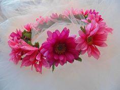 Pink Daisy Flower Crown Gerbera Daisy Tiara Bridesmaid Headdress by BunniesMadeOfBread on Etsy