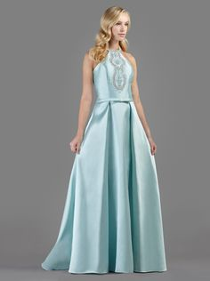 Long evening dress with gemstone beading on the bust and narrow belt with bow